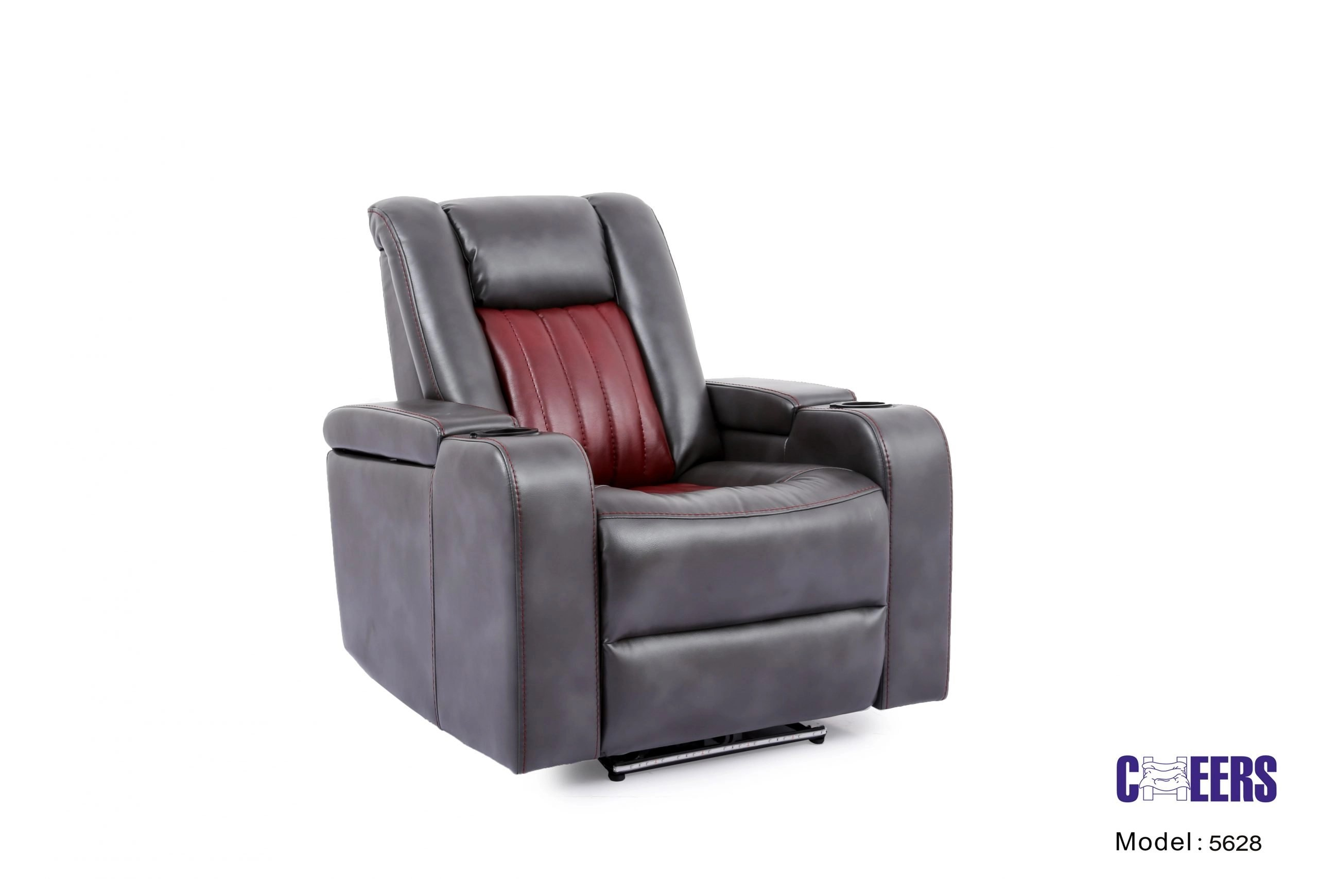 Cheers Gray and Red Fabric Power 1-Seater Sofa with USB