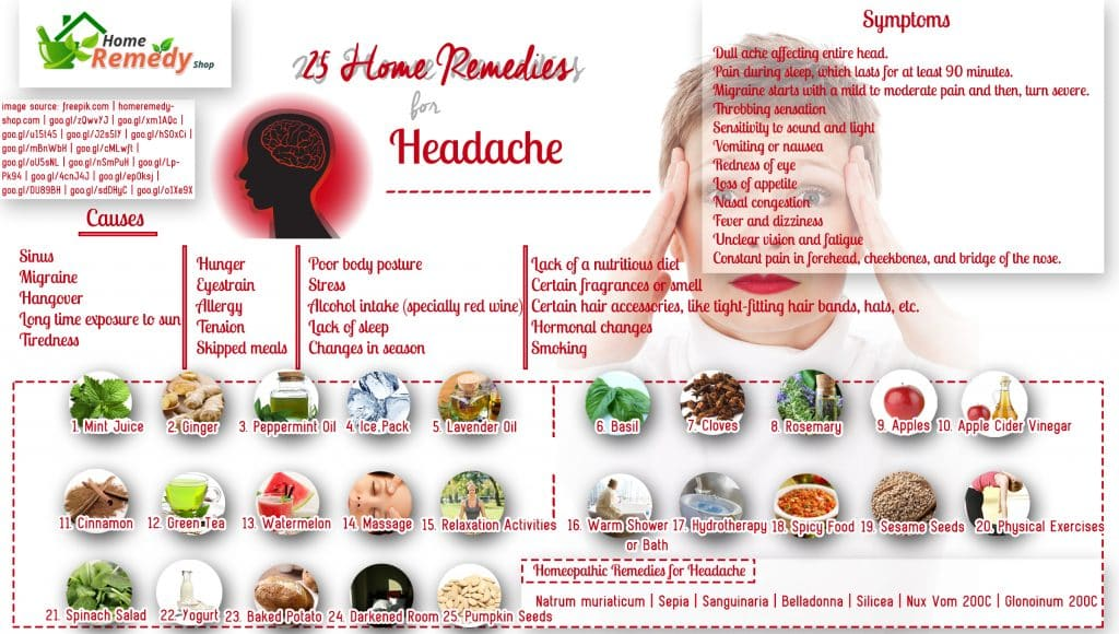 25 Home Remedies for Headache + Infographic - Home Remedies - Natural ...
