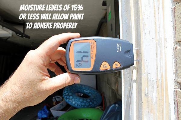 Measuring external moisture for a paint job