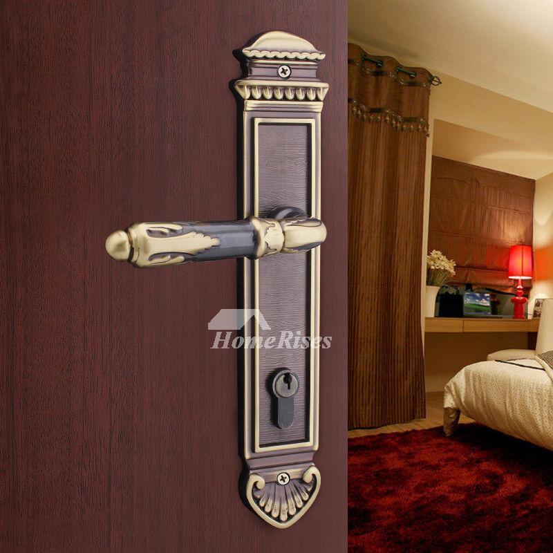 european black and rose gold carved brass bedroom door lock