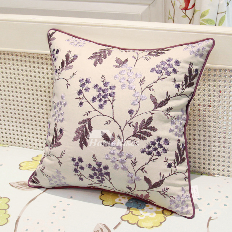 Country Floral Tree Linen Best Purple And Cream Throw Pillows