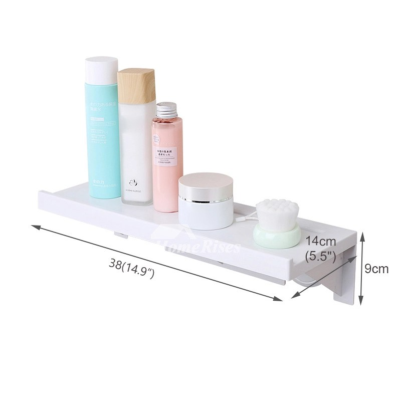 Good Quality Suction Cup ABS Plastic White Bathroom Wall Shelf