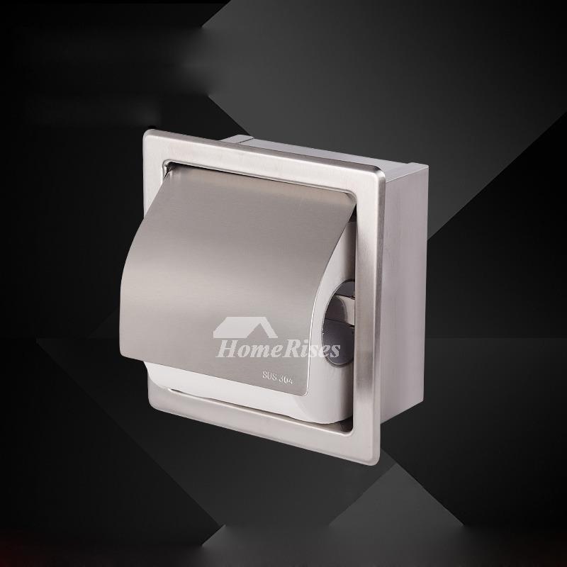 Modern Toilet Paper Holder Recessed ChromeBrushed