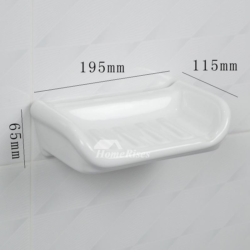 white ceramic tile soap dish wall mounted bathroom