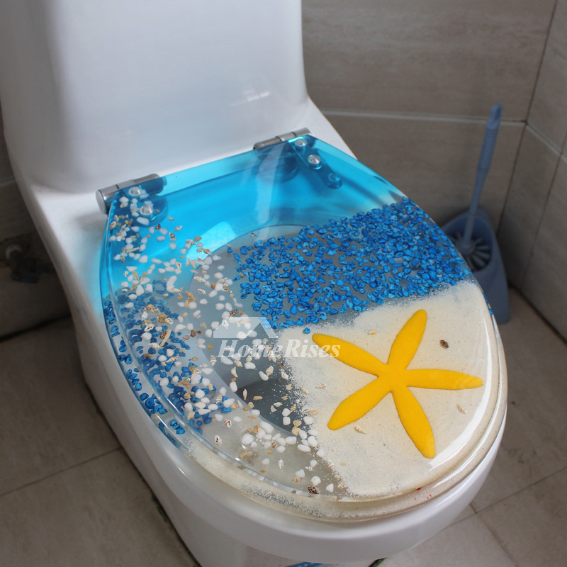 Blue Toilet Seat Oval Shaped Resin Marble Pattern Cushion