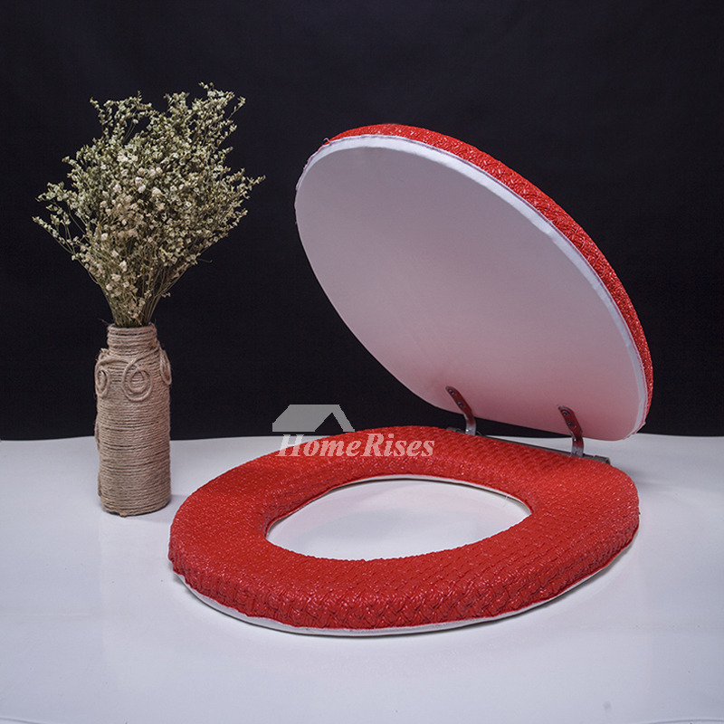 Red Toilet Seat Cover Green Pink Leather Wood Sponge