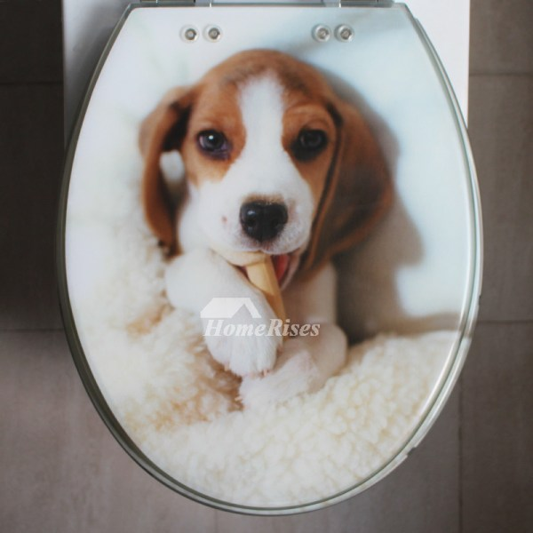 Cute Toilet Seat Covers Dog Gold Cushion Resin Marble