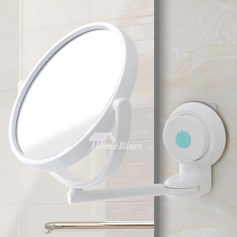 Modern Suction Cup Small Makeup Mirror White Bathroom Plastic