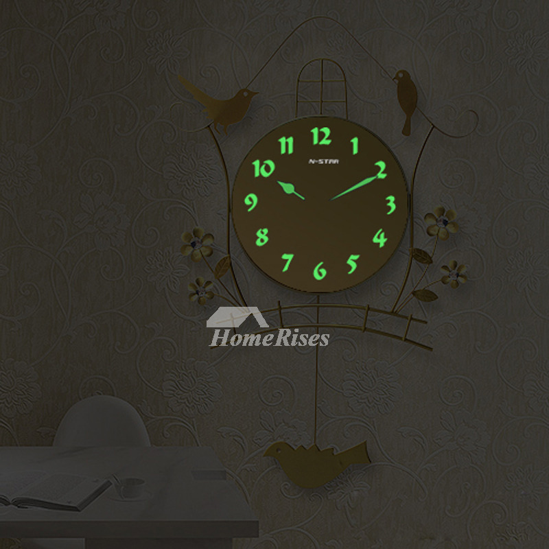 Illuminated Wall Clock Metal Bird Black Gold Decorative