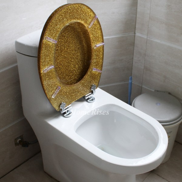 Gold Toilet Seat Glitter Resin Decorative Novelty Fancy ...
