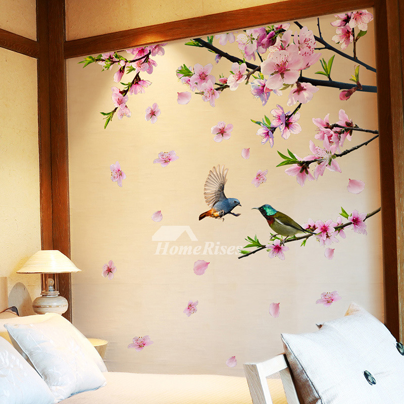 Decorative Flower Wall Stickers Bird Self Adhesive Bedroom Personalised