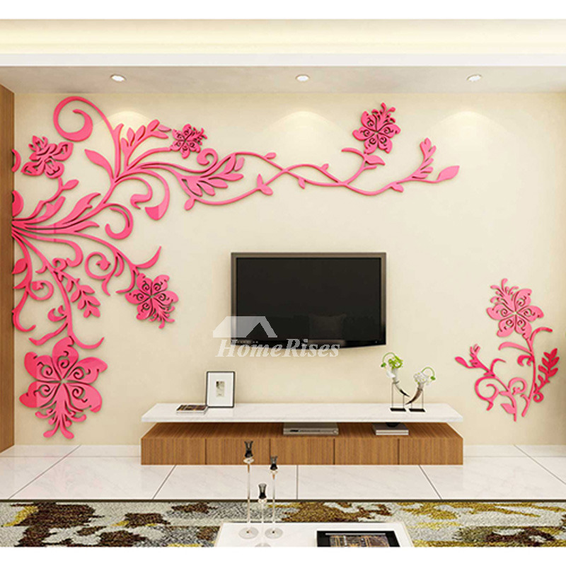 Living Room Wall Decor 3D Acrylic Modern Bedroom Large Unique on Room Wall Decor id=72183