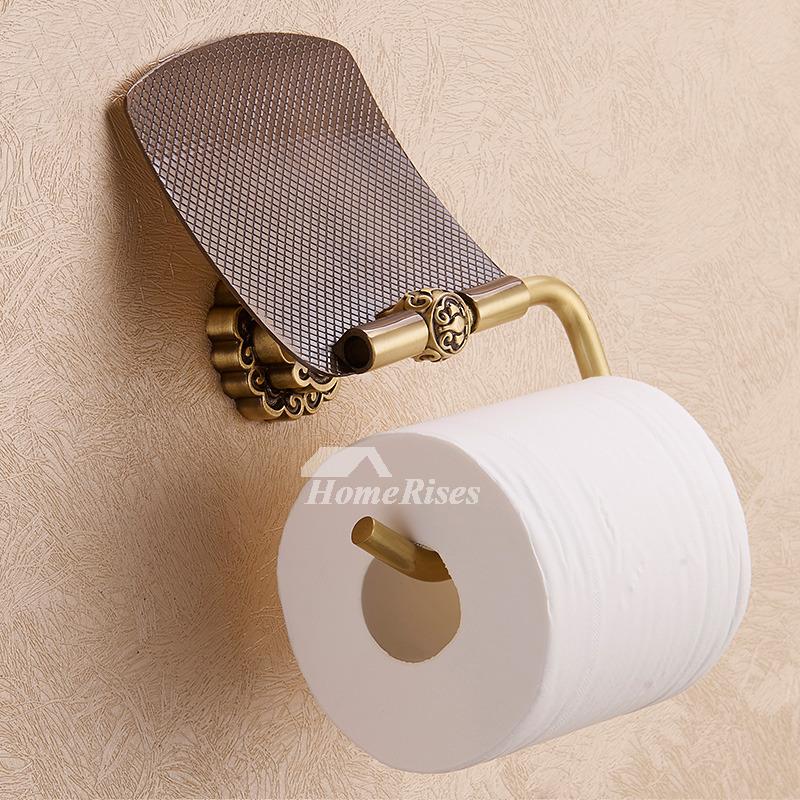 LTJ Luxury Gold Black Wall Mount Brass Bathroom Toilet Paper Holder