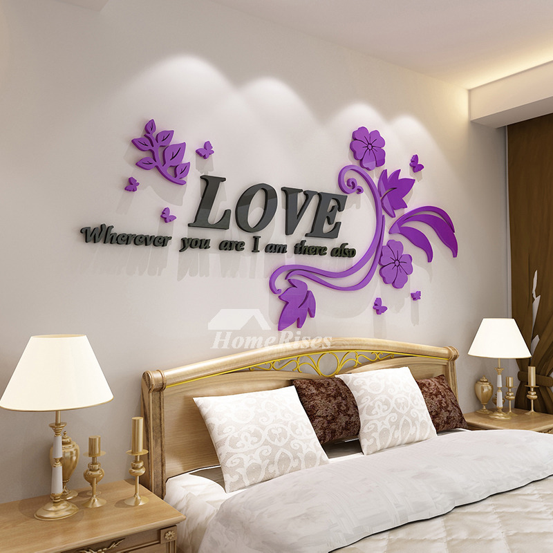 Flower Wall Decals Letter PinkPurple Acrylic Living Room Decorative