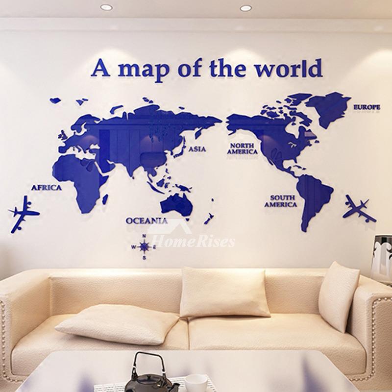 World Map Wall Decal 3D Acrylic BlueRedBlack Decorative