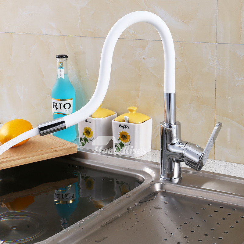 white kitchen faucet rotatable gooseneck vessel brass chrome 1 hole