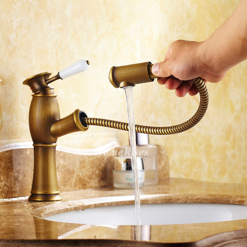 single hole bathroom faucet antique brass centerset pull out
