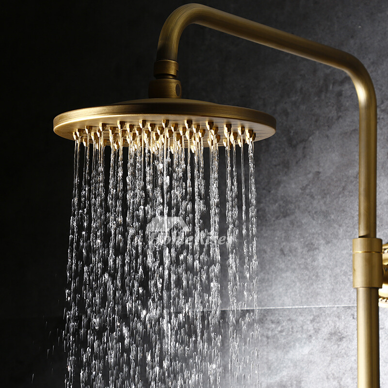 2 Handle Shower Faucet Wall Mount Ti PVD Brushed Brass Gold
