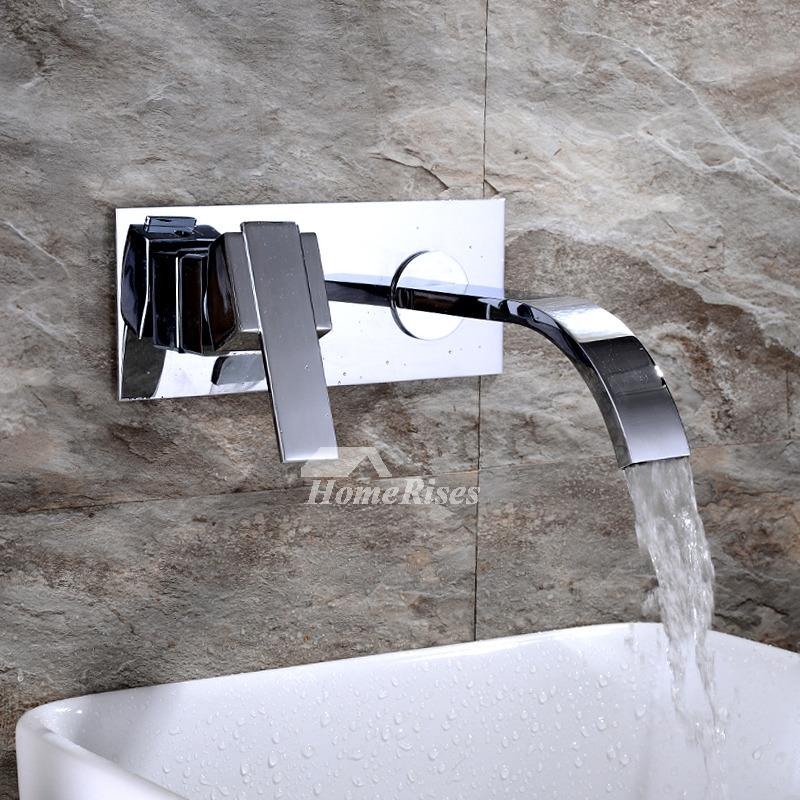 waterfall bathroom sink faucet wall mount brass chrome silver