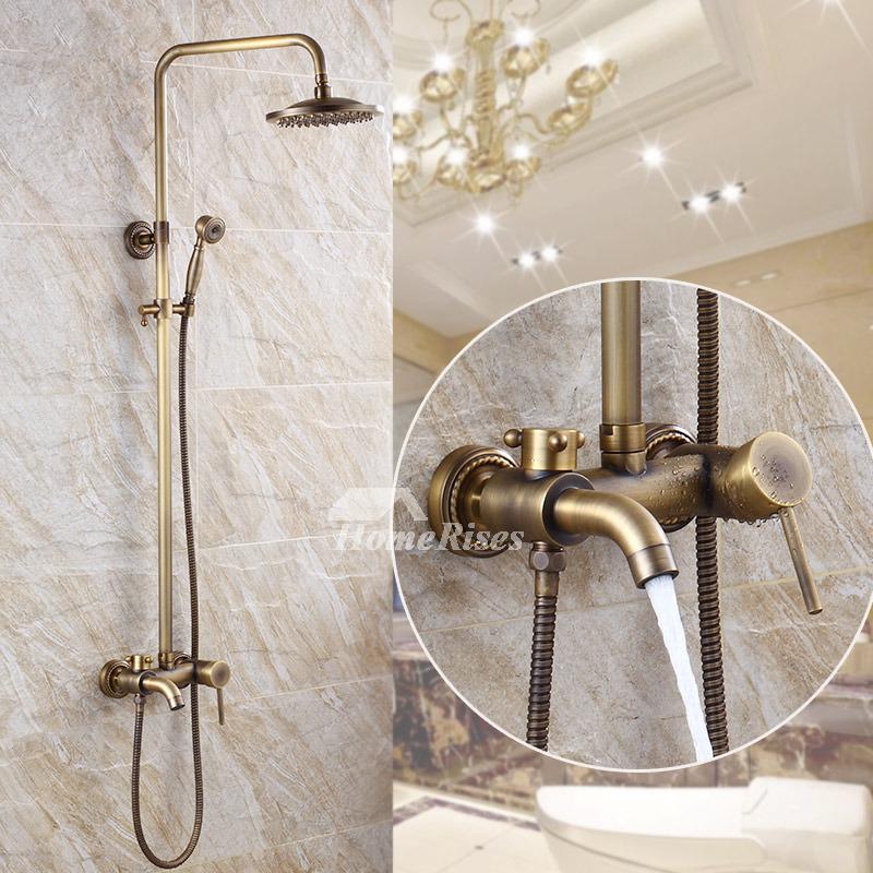 gold shower faucet wall mount antique brass outdoor bar fixture