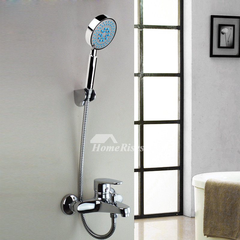 bathtub faucet with handheld shower chrome silver wall mount