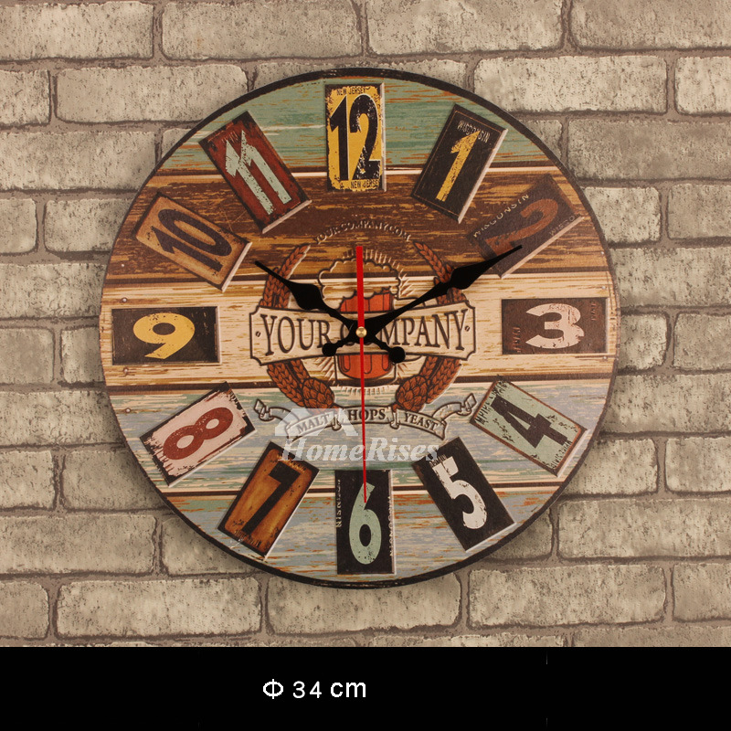 Decorative Wall Clocks Kitchen Unique Wooden Round 135