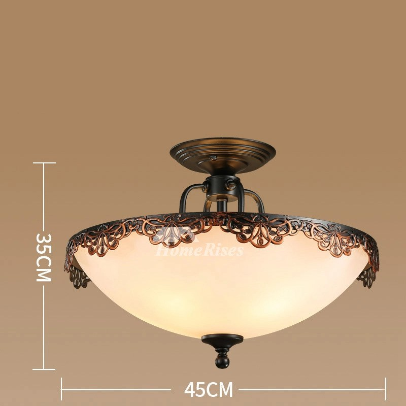 Ceiling Light Fixture Semi Flush Mount Bedroom Hanging Rustic Glass