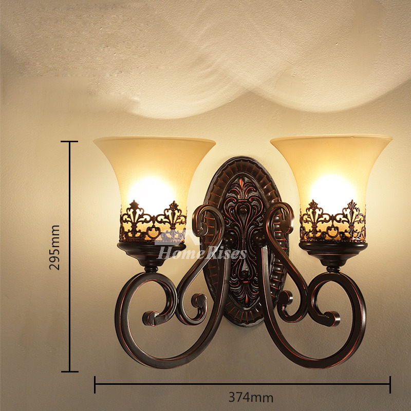 Rustic Wall Sconces Wrought Iron Glass Shade Contemporary ... on Wrought Iron Sconces Wall Lighting id=80701