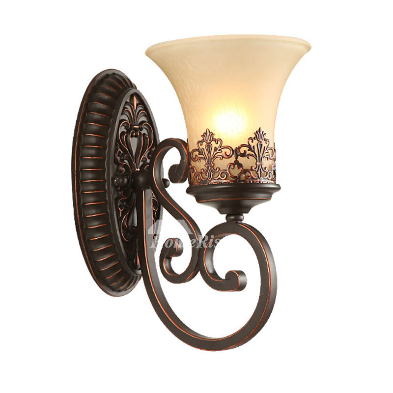 Rustic Wall Sconces Wrought Iron Glass Shade Contemporary ... on Wrought Iron Sconces Wall Lighting id=75868
