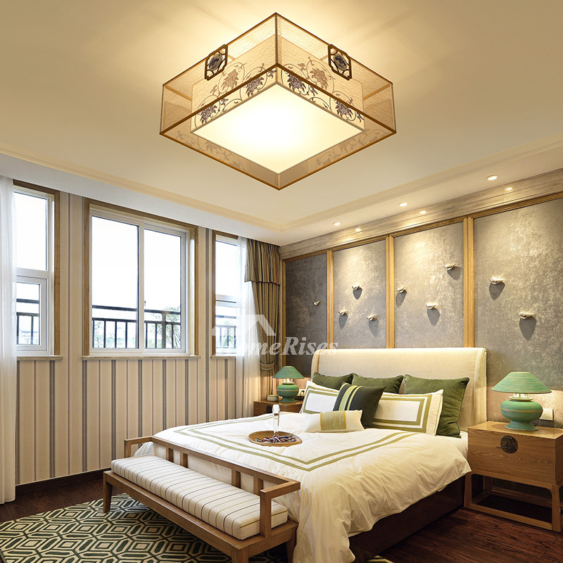 Living Room Ceiling Lights Drum Fabric Shade Square Flush