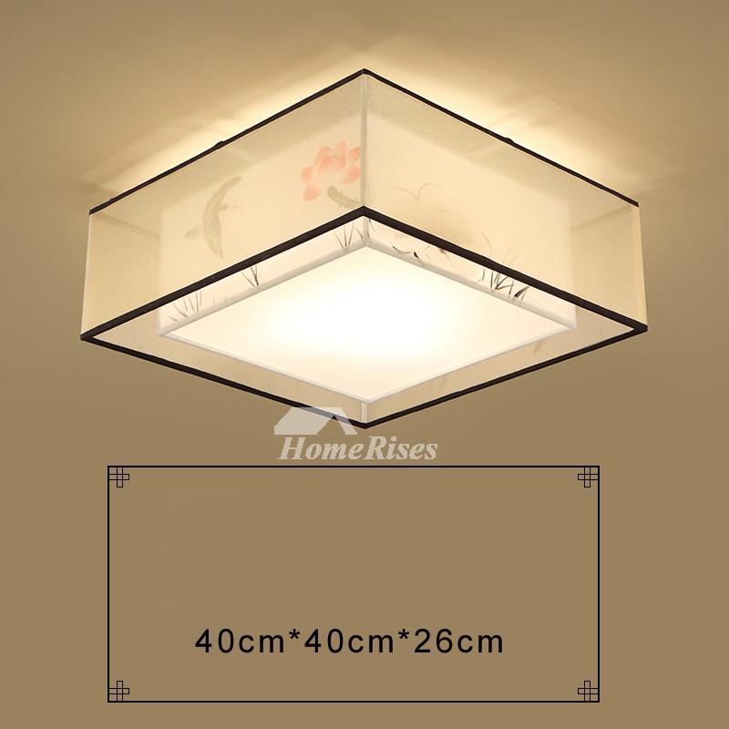 Square Flush Mount Ceiling Light Modern Asian Bedroom