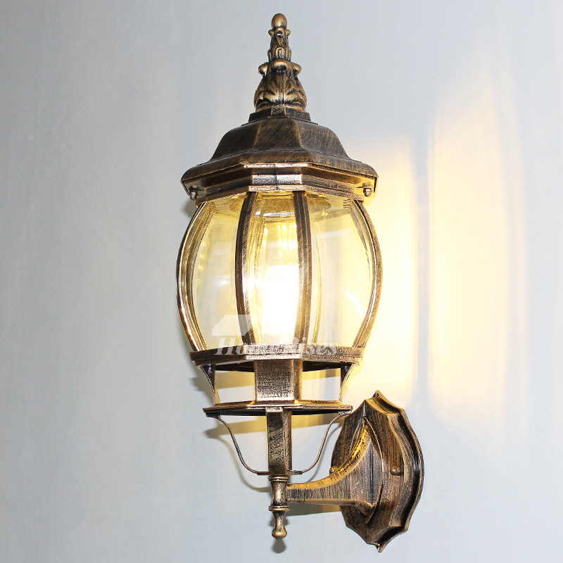 Outdoor Wall Sconce Rustic Black/Bronze Gold Metal Glass ... on Discount Wall Sconces id=59131