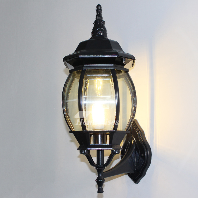 Outdoor Wall Sconce Rustic Black/Bronze Gold Metal Glass ... on Discount Wall Sconces id=50032