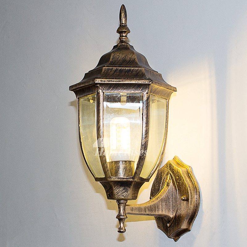 Outdoor Wall Sconce Rustic Black/Bronze Gold Metal Glass ... on Discount Wall Sconces id=27673