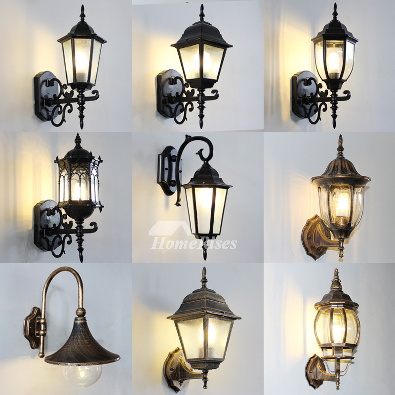 Outdoor Wall Sconce Rustic Black/Bronze Gold Metal Glass ... on Discount Wall Sconces id=22494
