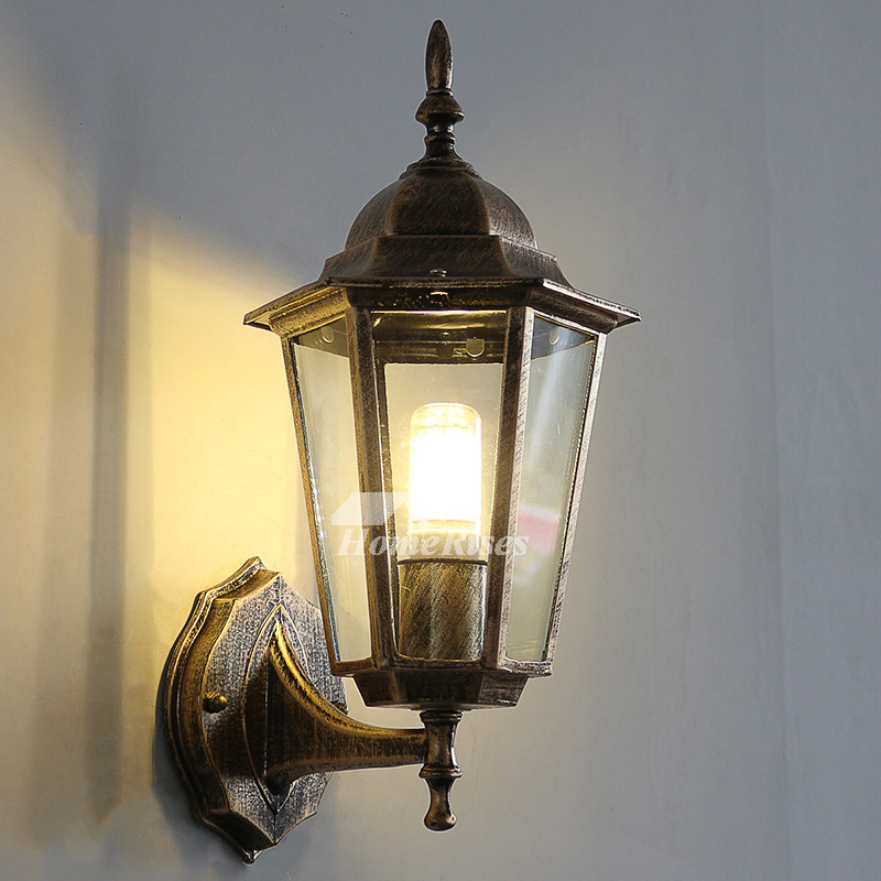 Exterior Wall Sconce Outdoor Decorative Lighting Glass ... on Wrought Iron Sconces Wall Lighting id=31127