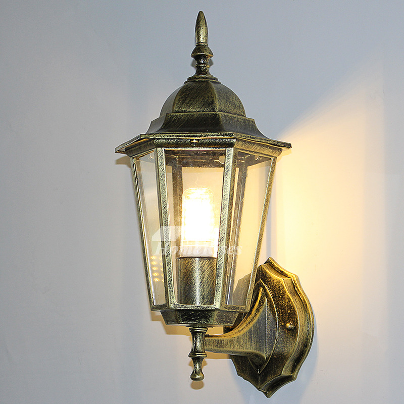 Exterior Wall Sconce Outdoor Decorative Lighting Glass ... on Wrought Iron Sconces Wall Lighting id=23540
