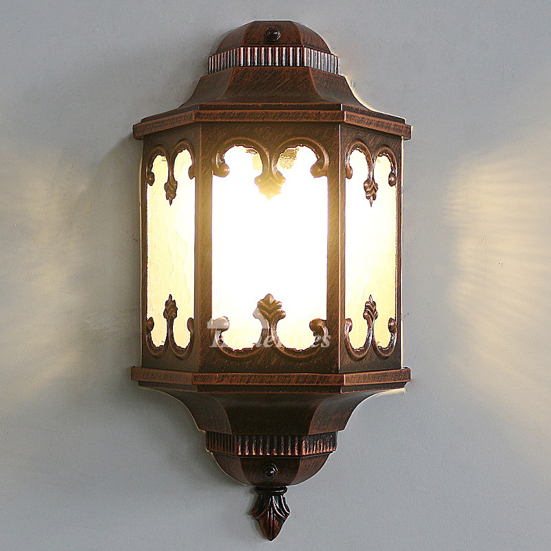 Antique Wall Sconces Glass Wrought Iron Decorative E27 ... on Wrought Iron Sconces Wall Lighting id=75277