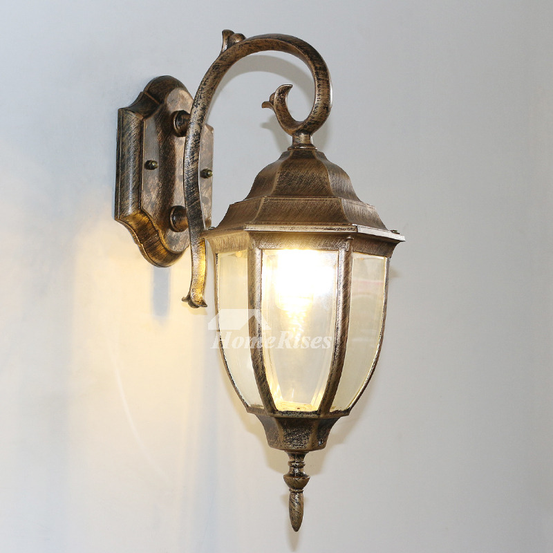 Exterior Wall Sconces Decorative Glass Wrought Iron Bronze ... on Wrought Iron Sconces Wall Lighting id=75272