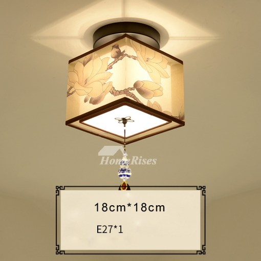Square Ceiling Light Round Asian Wrought Iron Fabric Semi Flush