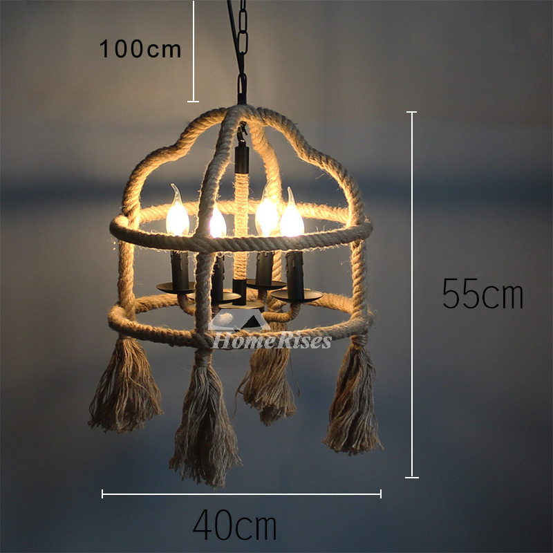 Industrial Hanging Pendant Lights Rustic Rope Outdoor Rope