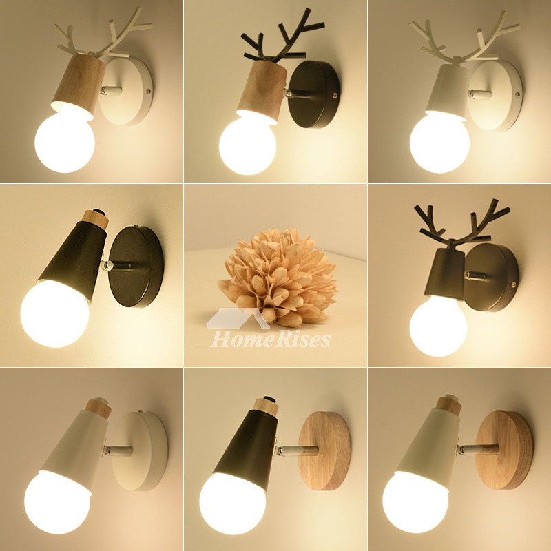 Cheap Metal Wood Wall Sconce Black/White Modern Bathroom Small on Wood Wall Sconces id=82938
