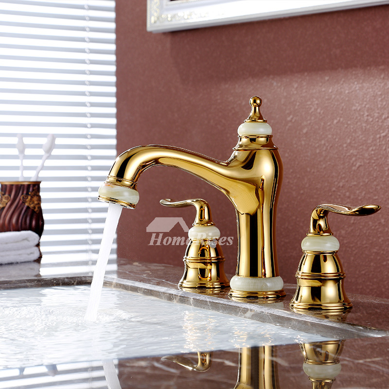 brass bathroom sink faucet polished widespread gold 3 hole two handles