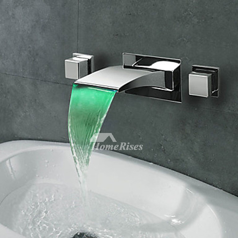 Silver Oil Rubbed Bronze Waterfall Bathroom Faucet 3 Hole