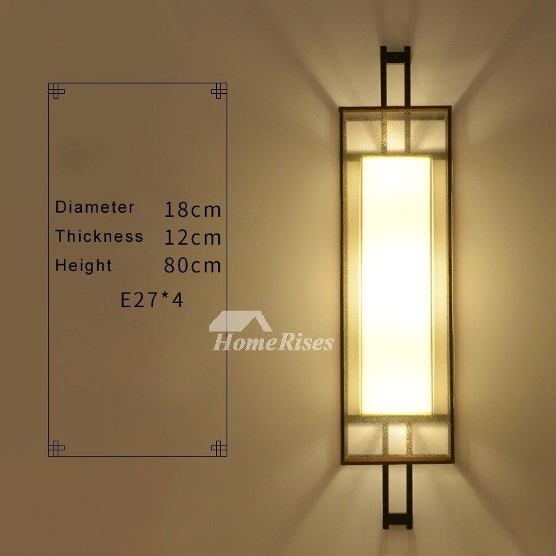 wall sconce lighting asian fabric rectangule wrought iron indoor best
