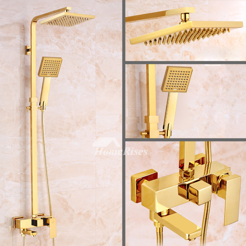 gold shower faucet polished brass 8 inch top wall mount single handle