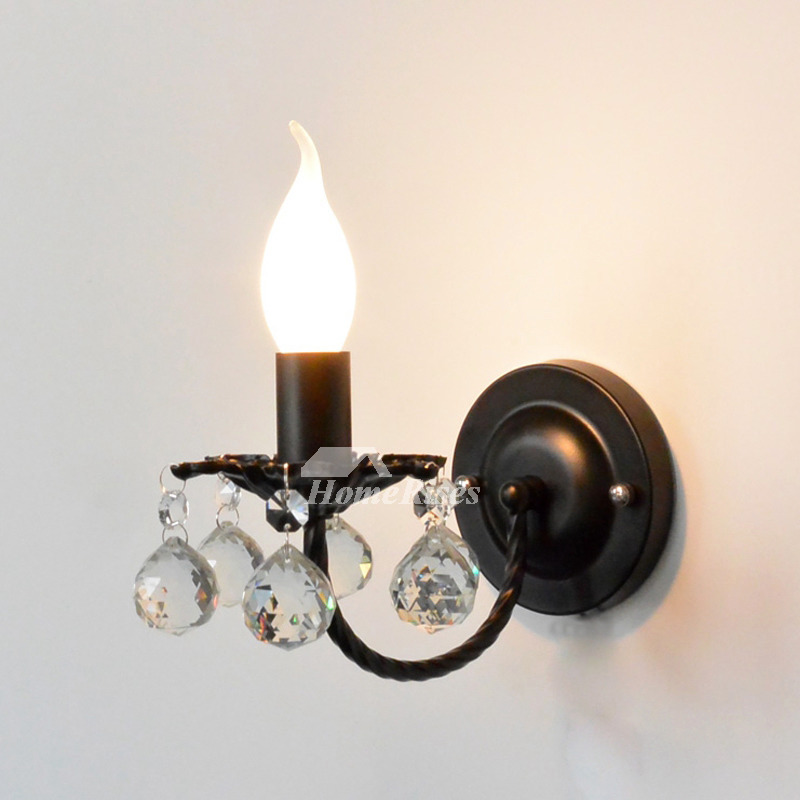 Crystal Wall Sconce Lighting Wrought Iron Decorative ... on Crystal Bathroom Sconces id=13284