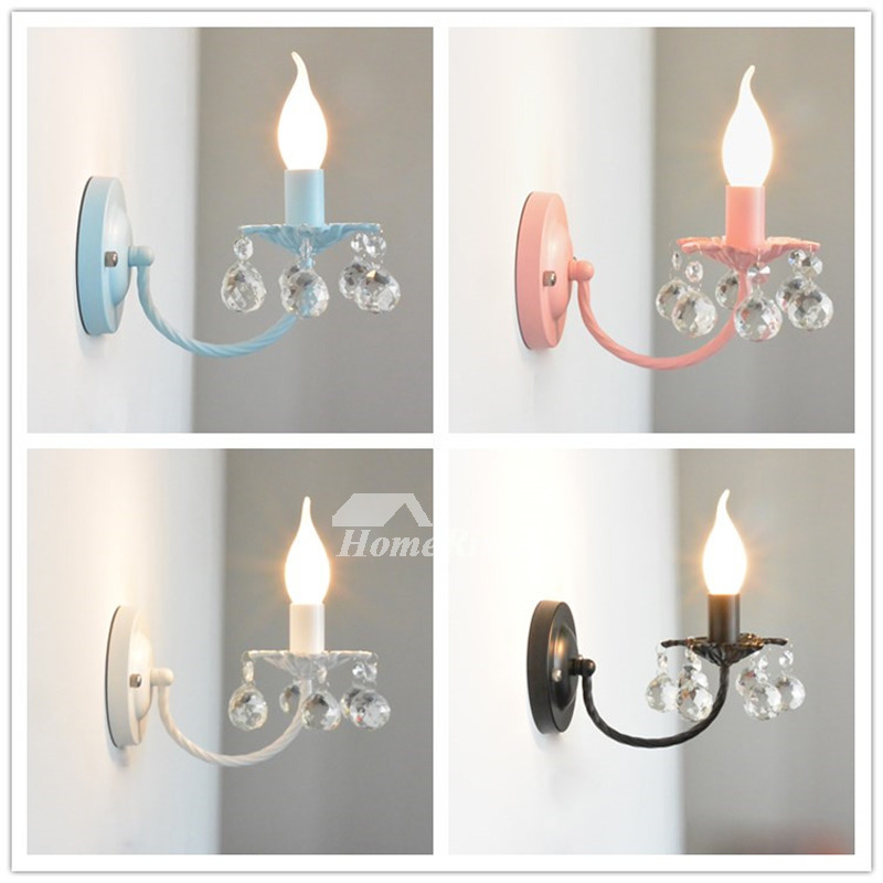 Crystal Wall Sconce Lighting Wrought Iron Decorative ... on Crystal Bathroom Sconces id=82861