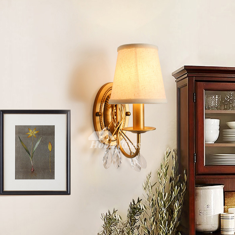 Rustic Wall Sconce Wrought Iron Fabric Crystal Modern ... on Wrought Iron Sconces Wall Lighting id=68581