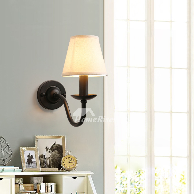 Rustic Wall Sconces Black Wrought Iron Lighting Fabric ... on Wrought Iron Sconces Wall Lighting id=92934